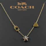 COACH 時尚配件經典LOGO星星心型項鍊.金