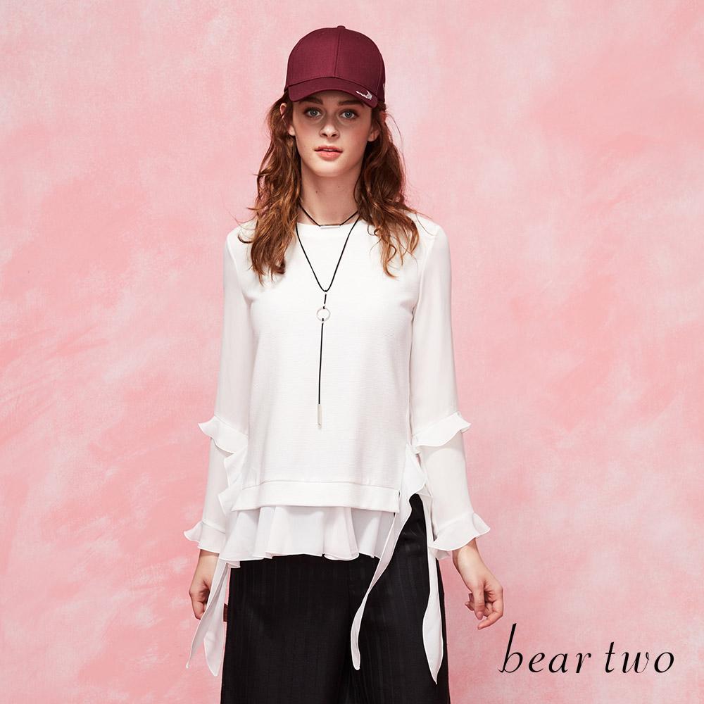 beartwo拼接雪紡飄逸織帶荷葉邊造型上衣(二色)