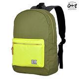 【GMT 挪威潮流品牌】撞色後背包 軍綠 附15吋筆電夾層;登山包/雙肩背包