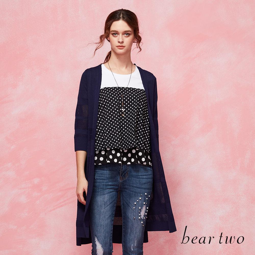 beartwo清透感條紋長版針織外套(二色)