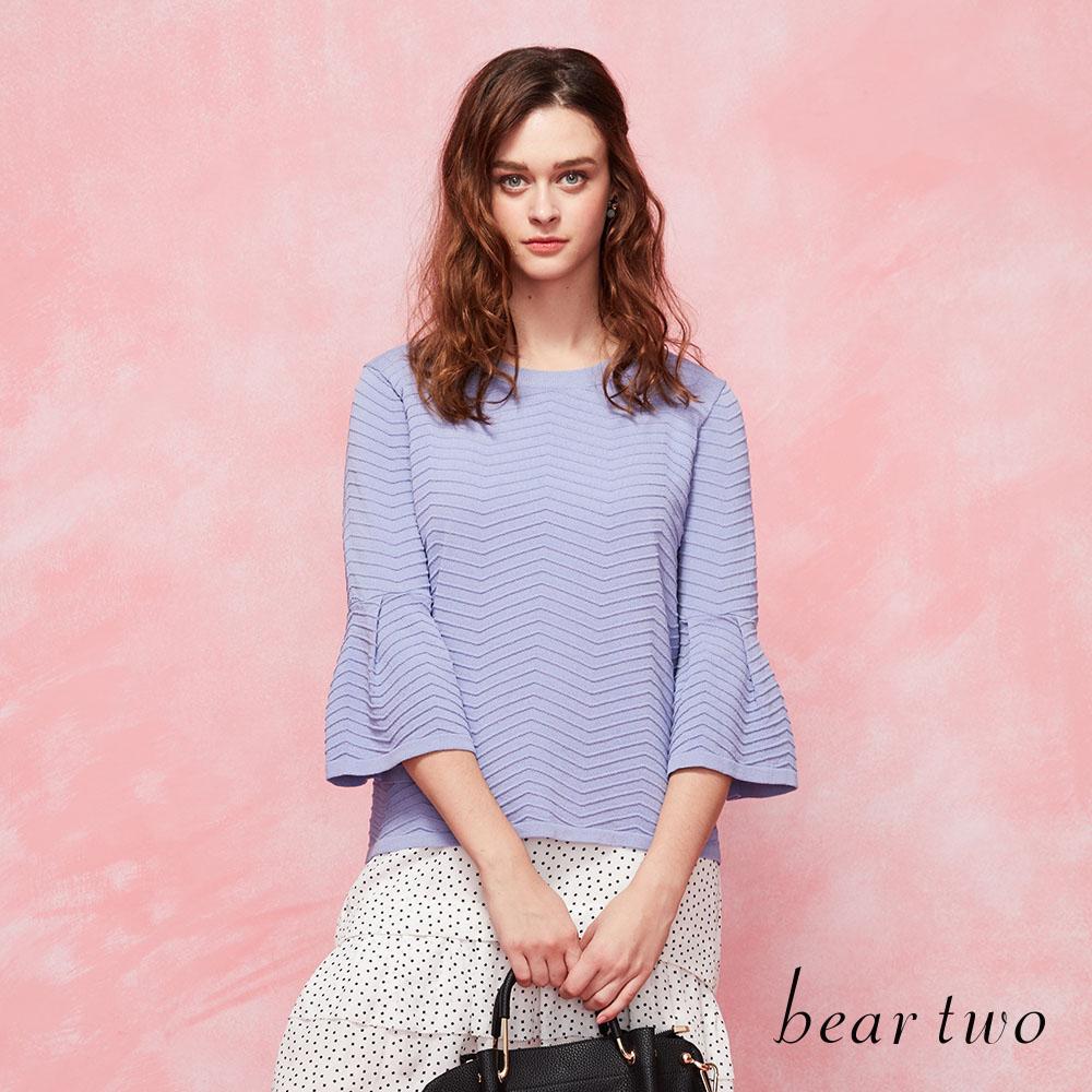 beartwo優雅滿分立體織紋傘型袖造型針織衫(二色)