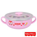 費雪Fisher-Price 雙耳不銹鋼兒童餐具碗350ml(粉)