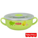 費雪Fisher-Price 雙耳不銹鋼兒童餐具碗350ml(綠)