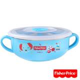 費雪Fisher-Price 雙耳不銹鋼兒童餐具碗350ml(藍)