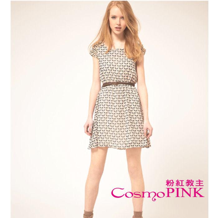 【CosmoPINK 粉紅教主】歐美韓版冰絲泡泡袖印花小鹿洋裝DRK0005