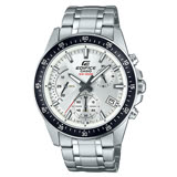 EDIFICE 三眼計時賽車男錶 不鏽鋼錶帶 銀X黑色錶面 防水100米 日期顯示 EFV-540D-7A