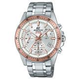 EDIFICE 三眼計時賽車男錶 不鏽鋼錶帶 銀X黑色錶面 防水100米 日期顯示 EFV-540D-7B