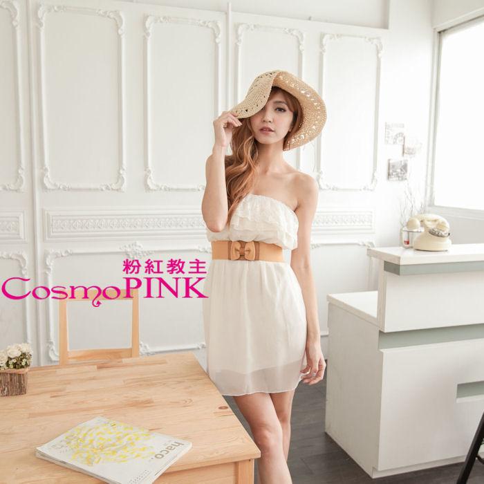 【CosmoPINK粉紅教主】韓版公主荷葉邊平口連身洋裝DRK0044