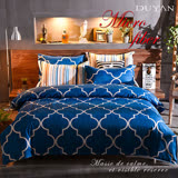 《DUYAN 竹漾》100%天絲絨雙人加大床包被套四件組-寶藍屋情緣 台灣製