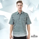 歐洲貴族oillio 短袖襯衫 時尚條紋 帥勁出眾 綠色