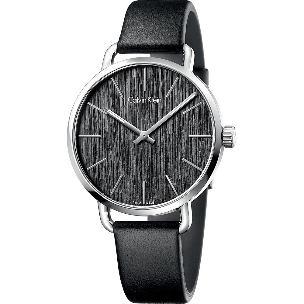 Calvin Klein CK Even 超然木質時尚手錶-黑/42mm K7B211C1