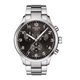 TISSOT CHRONO XL CLASSIC 霸氣暖男的風格時尚三眼計時腕錶-黑灰面+銀色鋼帶-T1166171105701