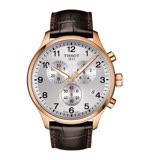 TISSOT CHRONO XL CLASSIC 霸氣暖男的風格時尚三眼計時腕錶-咖啡皮革+銀色面-T1166173603700