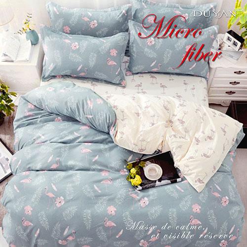 《DUYAN 竹漾》100%天絲絨單人床包被套三件組-紅鶴圓舞曲 台灣製