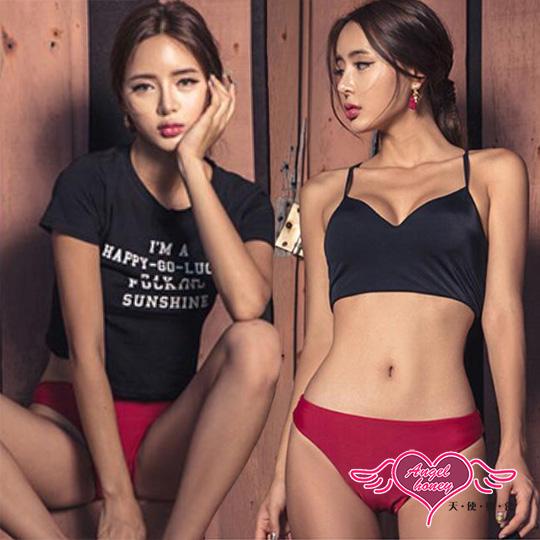 【天使霓裳】泳衣 酷感個性 素色三件式比基尼泳裝(黑M~XL)