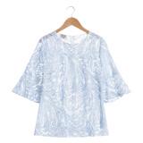 【EPISODE Studio】輕透圖騰蕾絲荷葉袖造型上衣(藍 / 無附內搭背心)