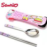 SANRIO【Kitty蛋糕】不鏽鋼環保餐具組