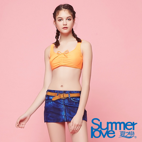 【SUMMERLOVE夏之戀】大女牛仔印花短版二件式泳衣S18708