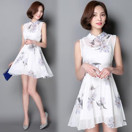 【韓國KW】(限量)古典浪漫印花雪紡修身洋裝