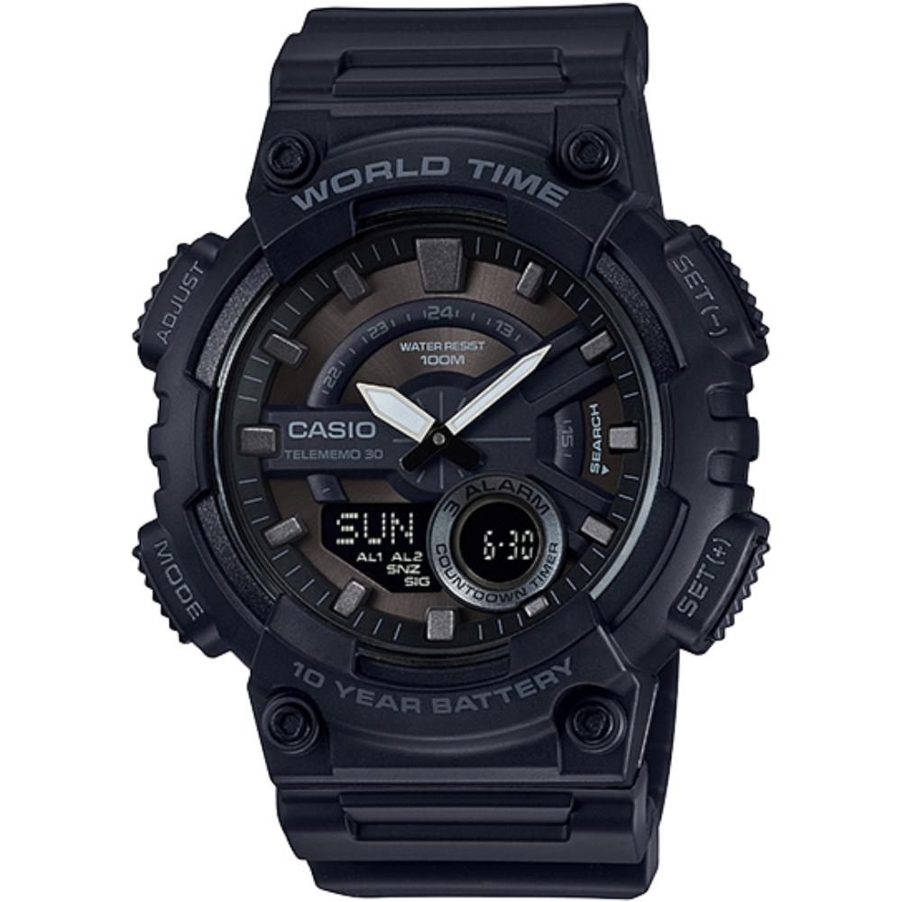 CASIO 雙層次 風多 雙顯錶 黑 _AEQ~110W~1B