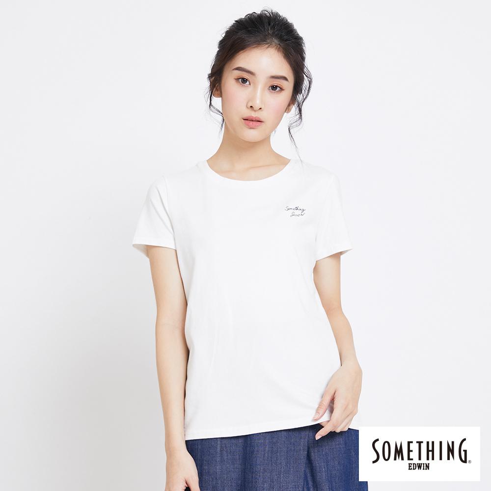 SOMETHING 簡約刺繡圓領短袖T恤-女-白色