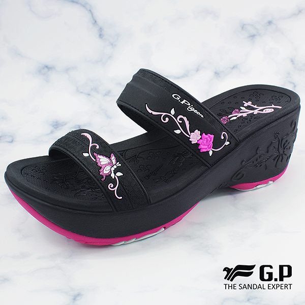 【G.P 女款厚底雕花雙帶拖鞋】G8531W-黑桃色(SIZE:35-39 共二色)