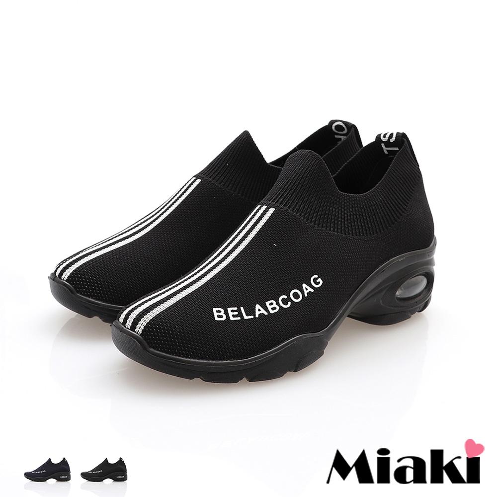 【Miaki】休閒鞋運動風格氣墊厚底襪鞋【 (藍 / 黑 )