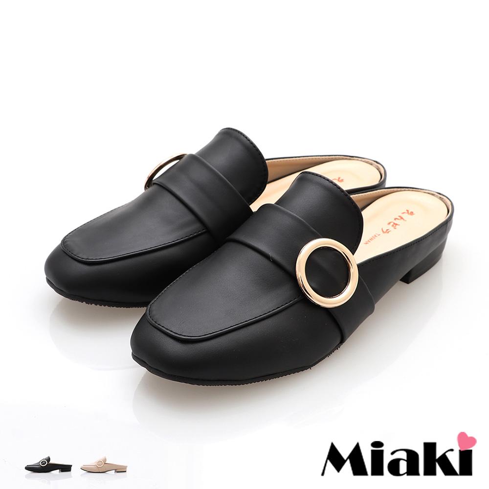 【Miaki】穆勒鞋首爾百搭平底休閒拖鞋 (黑皮 /  米皮 )