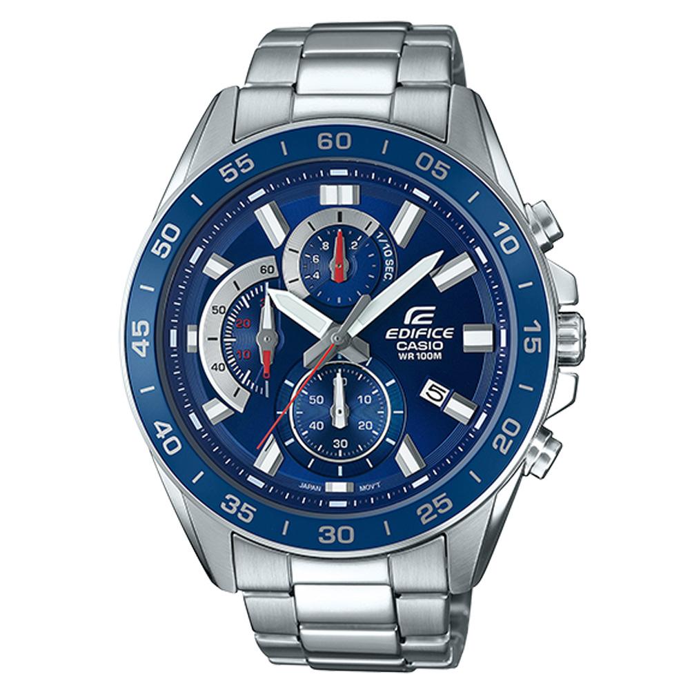 CASIO 卡西歐 EDIFICE 三眼計時賽車男錶 不鏽鋼錶帶 防水100米 日期顯示 EFV-550D-2A