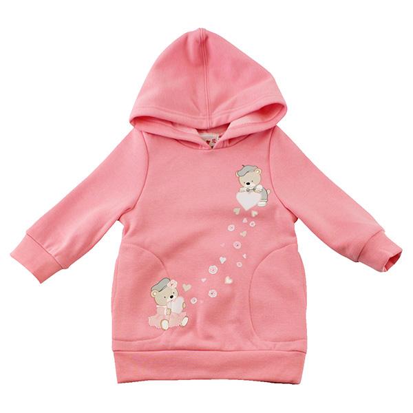 【愛的世界】MYBABY 小熊甜心彈性刷毛連帽上衣/6~12歲-中國製-