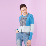 設計款撞色拼接流蘇短版拉鍊針織造型外套 -藍