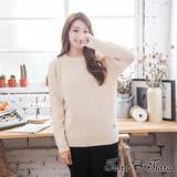 【Tiara Tiara】激安 素色羅紋長袖毛衣針織衫(米/藏青)