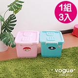 【MR.BOX】C400彩瓷滑輪整理箱S 32L(3入)