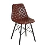 【AT HOME】美式工業風咖啡皮菱格紋鐵藝餐椅(42*45*80cm)韋恩