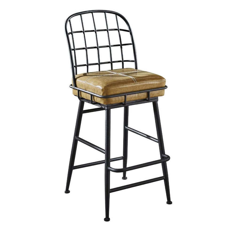 【AT HOME】工業風設計網背黃皮吧台椅(42*43*107cm)漢威
