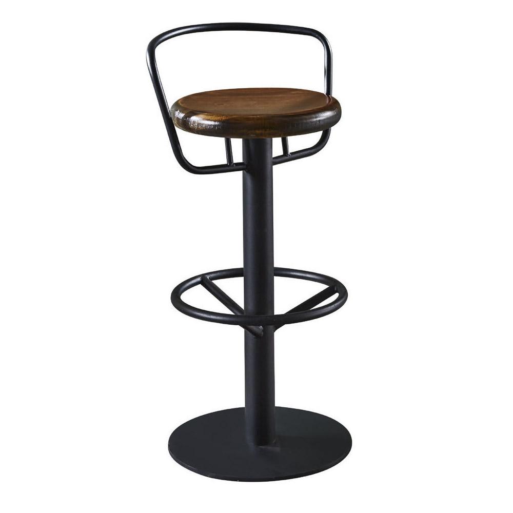 【AT HOME】工業風設計圓形實木椅墊吧台椅(34*34*83cm)漢得