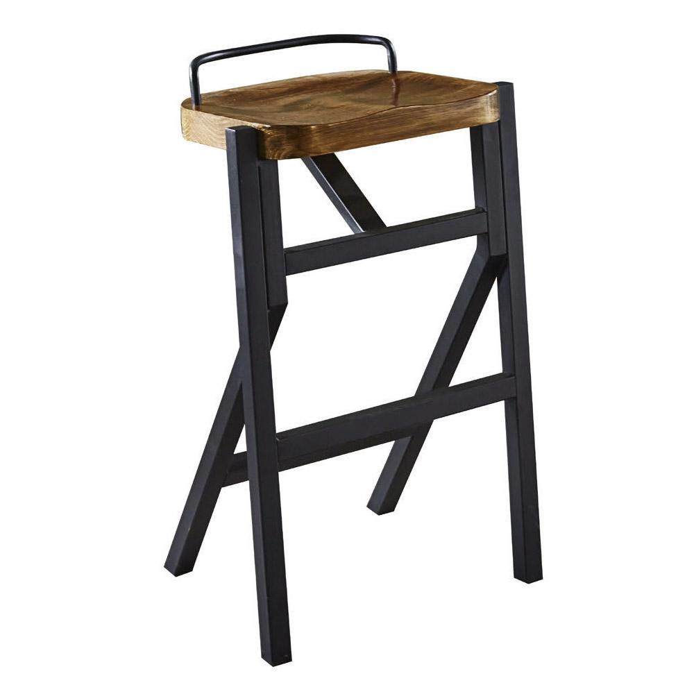【AT HOME】工業風設計方形實木椅墊吧台椅(44*35*76cm)漢森
