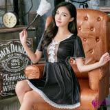 【Sexy Cynthia】性感睡衣 優雅黑色柔紗美背短袖柔緞性感睡衣