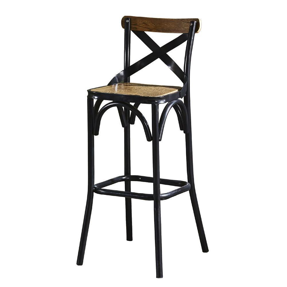 【AT HOME】美式工業風設計骨叉實木椅墊吧台椅(51*40*105cm)