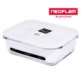NEOFLAM 專利無膠條玻璃保鮮盒長型1500ml-白上蓋粉紅膠條