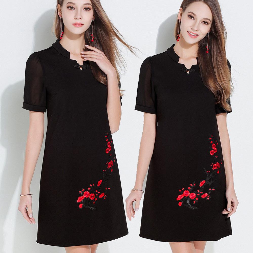 【麗質達人中大碼】2693復古風貼布繡花洋裝(M-5XL)