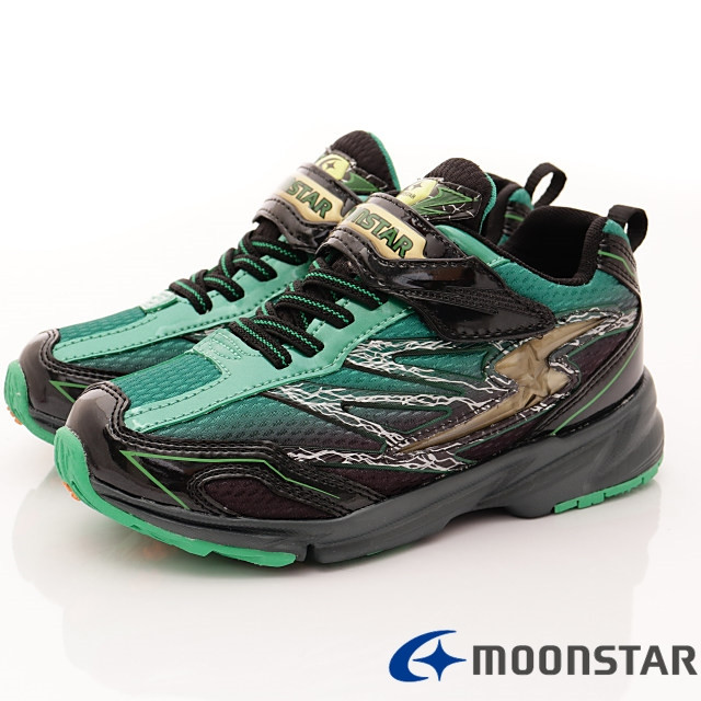 日本月星機能童鞋--競速運動款-(SSJ8176黑綠-19-24.5cm)