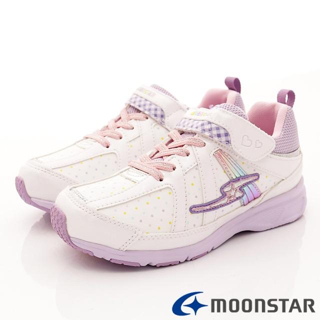 日本月星機能童鞋--防潑甜心運動款-(SSJ8091白-21-24.5cm)