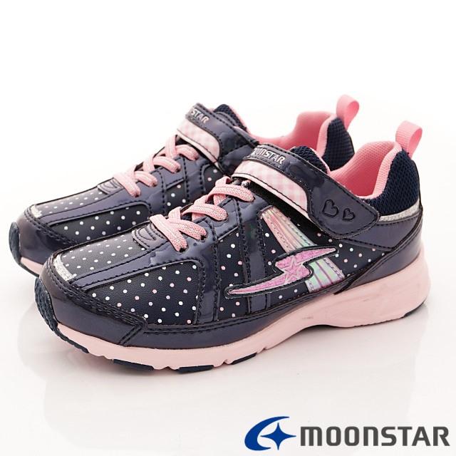 日本月星機能童鞋--防潑甜心運動款-(SSJ8095深藍-19-24.5cm)