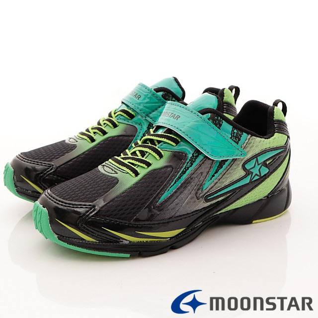 日本月星機能童鞋--防潑競速運動款-(SSJ8226黑綠-19-24.5cm)
