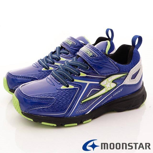 日本月星機能童鞋--防潑競速運動款-(SSJ8265藍-19-24.5cm)