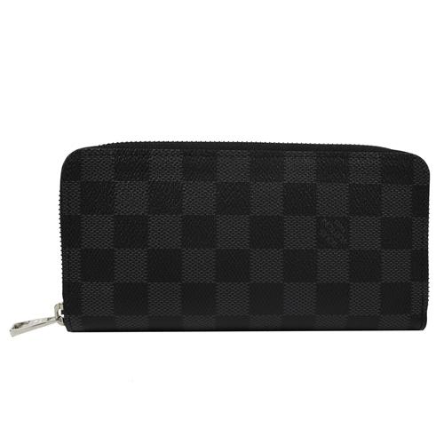 Louis Vuitton LV N61653 Vasco 黑棋盤格紋雙折零錢長夾