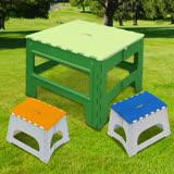 【Wally Fun】戶外休閒折疊桌椅組 -1桌2椅 (桌子綠色/椅子顏色隨機)