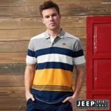 JEEP品牌經典撞色條紋短袖POLO衫-黃色
