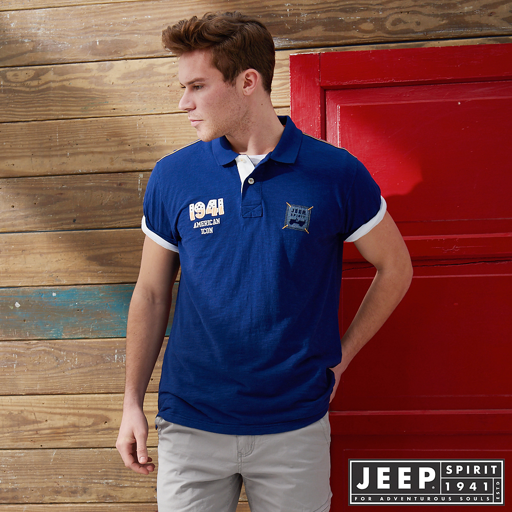 JEEP潮流美式風格貼布短袖POLO衫-藍色